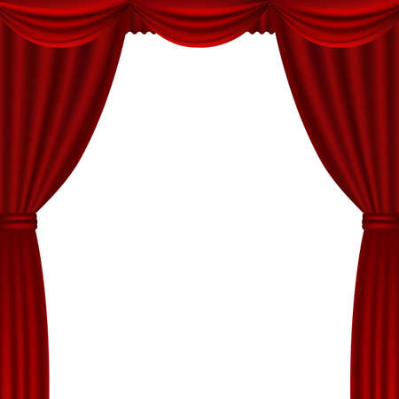 Red Theater Curtains With Gradient Mesh, Vector Illustration