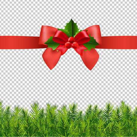 Red Ribbon With Holly Berry And Firtree Transparent Background With Gradient Mesh, Vector Illustration