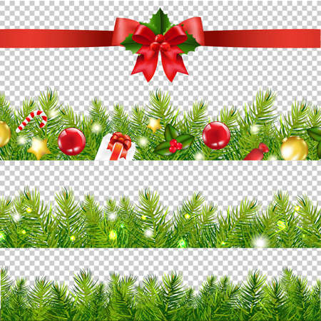Red Ribbon With Holly Berry And Firtree Border Transparent Background With Gradient Mesh, Vector Illustration