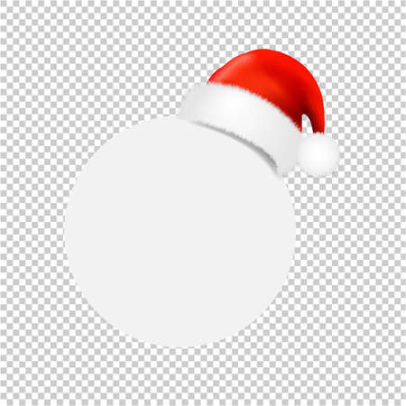 Santa Claus Cap With Ball Banner Transparent Background With Gradient Mesh, Vector Illustration