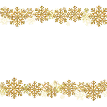 Winter Snowflake Border With Gradient Mesh, Vector Illustration