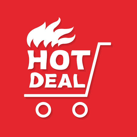 Hot Deal Banner With Gradient Mesh, Vector Illustration