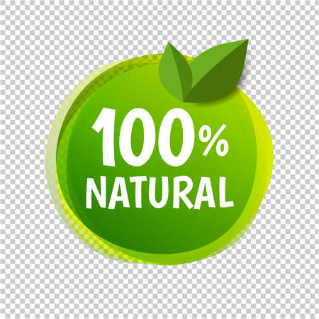 Natural Label Isolated Transparent Background With Gradient Mesh, Vector Illustration