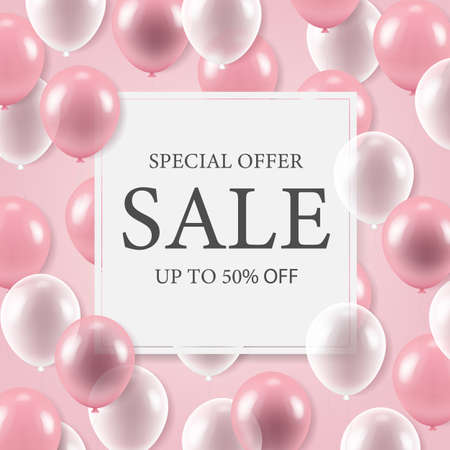 Sale Banner With Balloons With Gradient Mesh, Vector Illustration