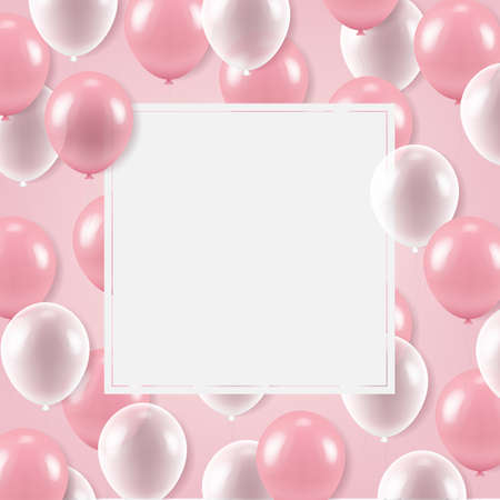 White Banner With Balloons With Gradient Mesh, Vector Illustration