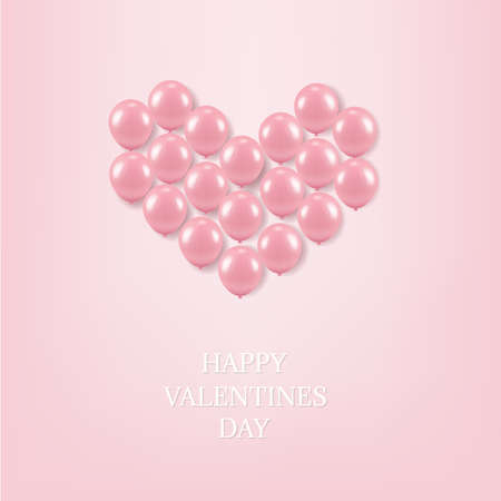 Pink Balloons Heart With Gradient Mesh, Vector Illustration