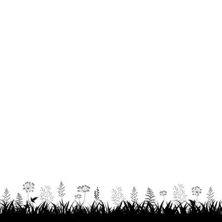 Grass Frame White Background, Vector Illustration