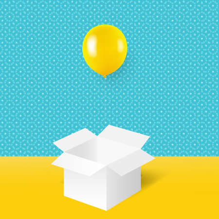 Yellow Balloons With White Box With Gradient Mesh, Vector Illustration