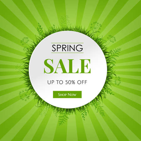 Spring Sale Card With Gradient Mesh, Vector Illustration