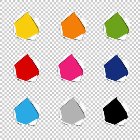 Hole Collection Torn Paper Isolated Transparent background With Gradient Mesh, Vector Illustration