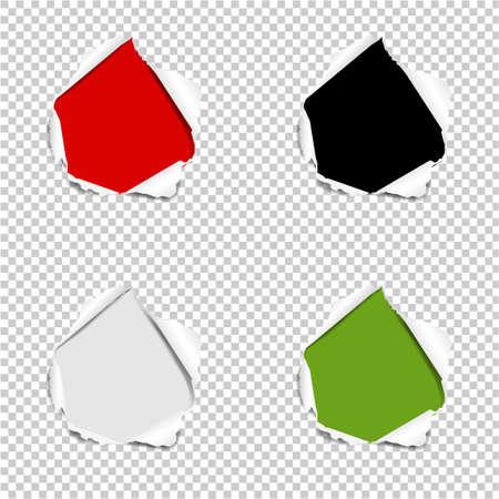 Hole Set Torn Paper Isolated Transparent background With Gradient Mesh, Vector Illustration Ilustração