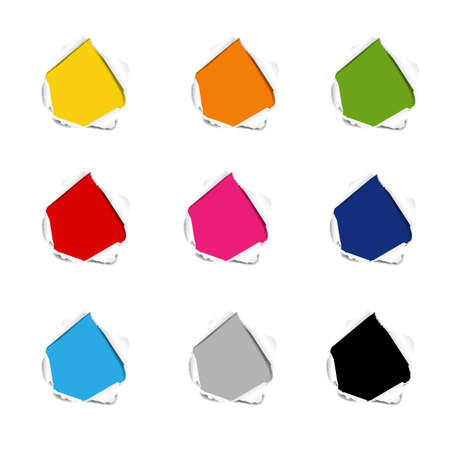 Hole Collection Torn Paper Isolated White background With Gradient Mesh, Vector Illustration