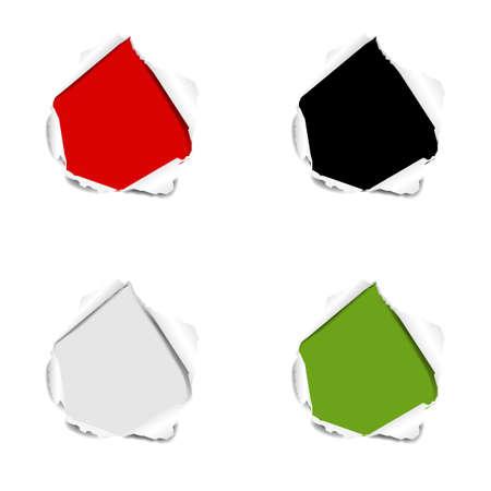 Hole Set Torn Paper Isolated White background With Gradient Mesh, Vector Illustration Ilustração