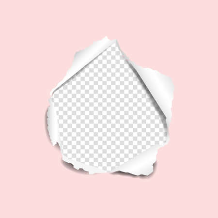Torn Pink Paper With Gradient Mesh, Vector Illustration