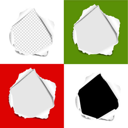 Hole Torn Paper Set Isolated background With Gradient Mesh, Vector Illustration