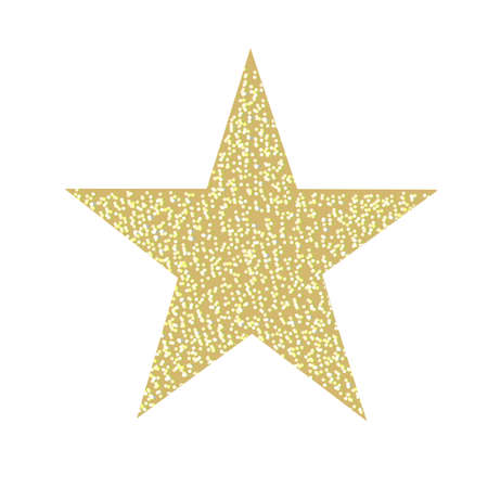 Glitter Golden Star Isolated, Vector Illustration