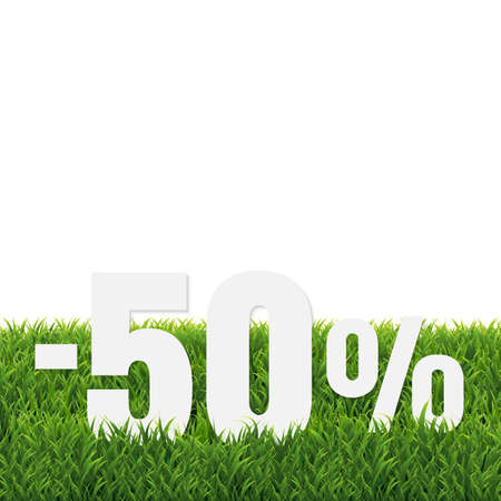 Green Grass Border With Sale Poster Transparent Background, Vector Illustration