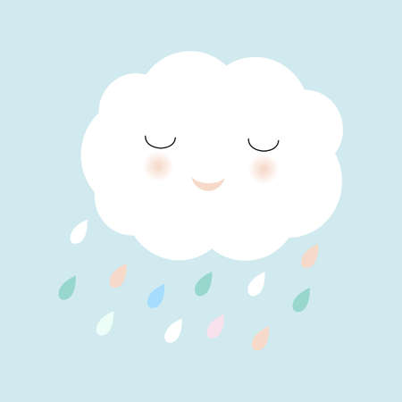 Cartoon Cloud And Rain, Vector Illustration