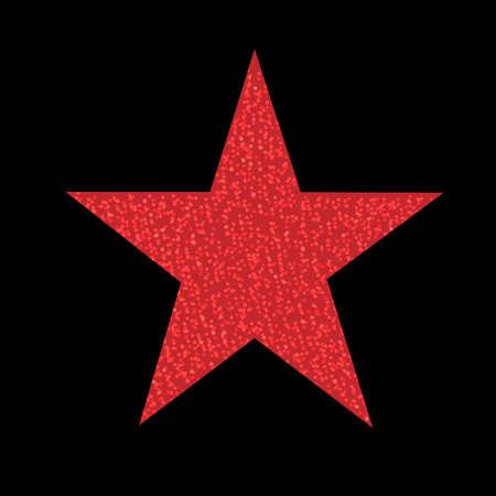 Red Glitter Star Isolated, Vector Illustration