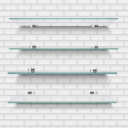 Glass Shelves Brick Background With Gradient Mesh, Vector Illustration