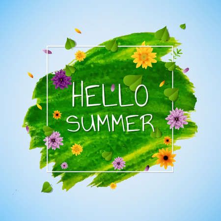 Hello Summer Banner With Flower, Vector Illustration