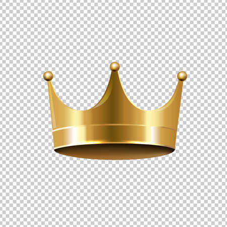 Golden Crown Isolated Transparent Background, Vector Illustration Illustration