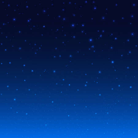 Night Shining Starry Sky Blue Space Background, Vector Illustration