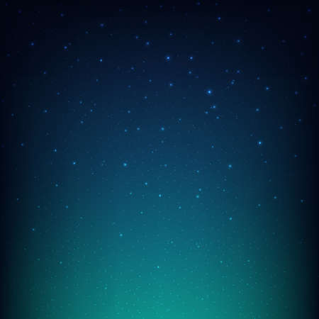 Night Starry Sky Blue Space Background, Vector Illustration