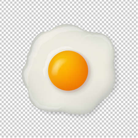 Fried Egg Isolated On Transparent Background With Gradient Mesh