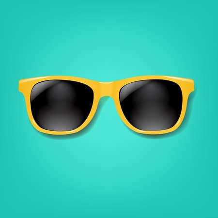 Gafas de sol amarillas con fondo de menta con malla de degradado