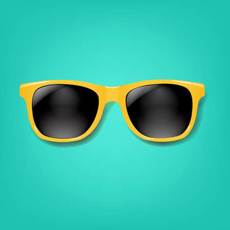 Yellow Sunglasses With Mint background With Gradient Mesh