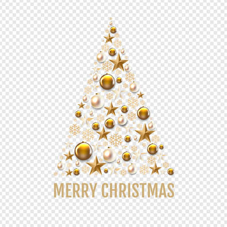 Christmas Tree With Golden Christmas Toys And Stars transparent Background With Gradient Mesh, Vector Illustration