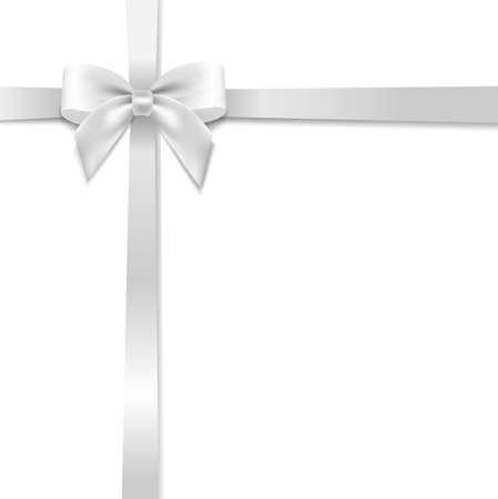 White Bow With White Background With Gradient Mesh, Vector Illustration Illusztráció