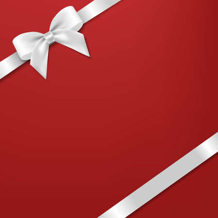White Bow And Ribbon With Red Background With Gradient Mesh, Vector Illustration