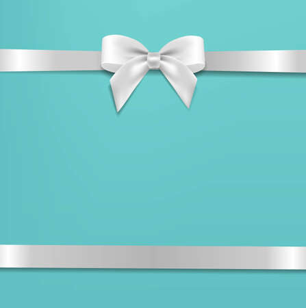 White Bow With Mint Poster With Gradient Mesh, Vector Illustration