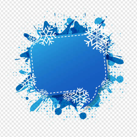 Winter Speech Bubble Isolated Transparent Background With Gradient Mesh, Vector Illustration
