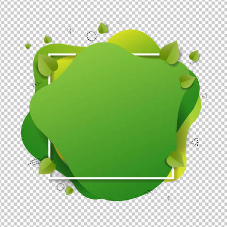 Green Speech Bubble With Leaves Isolated Transparent Background , Vector Illustration
