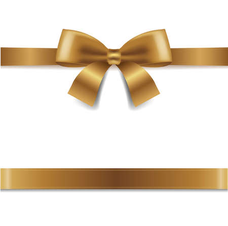 Golden Bow Isolated White Background With Gradient Mesh, Vector Illustration Vektorové ilustrace