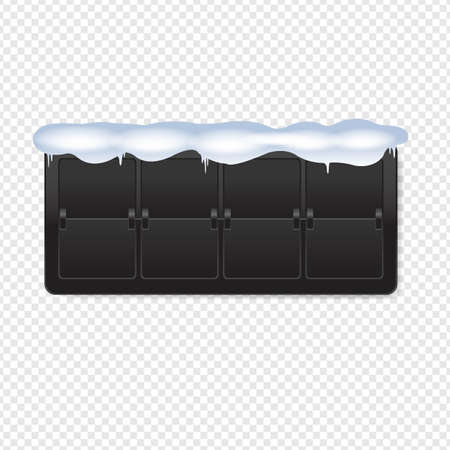 Black Counter With Snow Transparent Background With Gradient Mesh, Vector Illustration