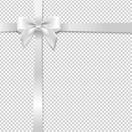 White Bow With Transparent Background With Gradient Mesh, Vector Illustration