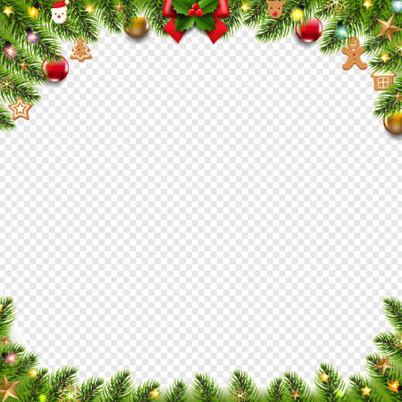 Christmas Banner With Christmas Toys And Christmas Tree Transparent Background With Gradient Mesh, Vector Illustration