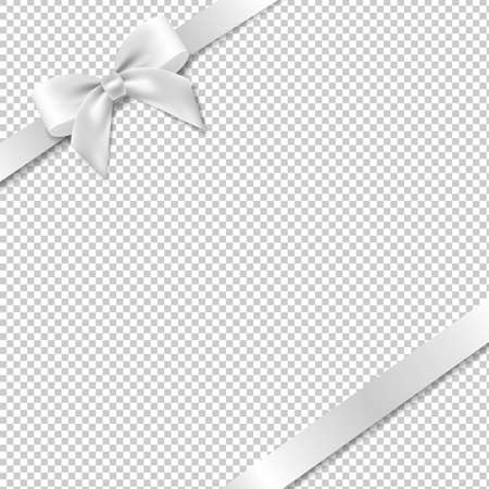 White Bow And Ribbon With White Background With Gradient Mesh, Vector Illustration