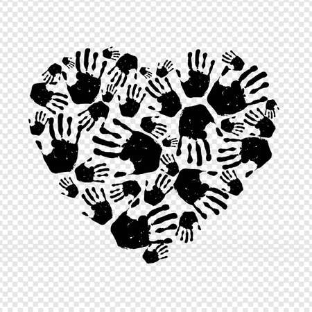 Black Hand Print Heart Poster Isolated Transparent Background, Vector Illustration