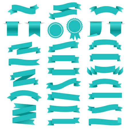 Blue Retro Paper White Ribbons Set, Vector Illustration Ilustracje wektorowe
