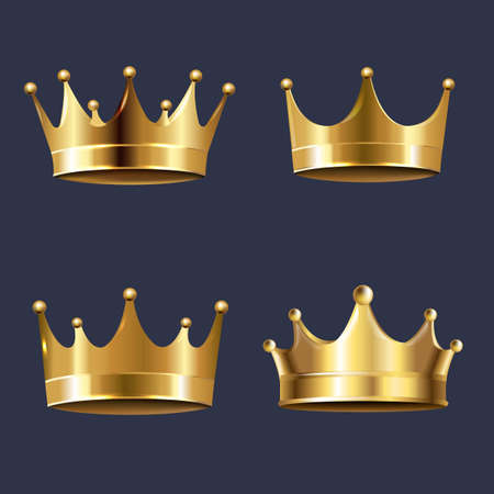 Golden Crown Set Isolated Blue Background With Gradient Mesh, Vector Illustration