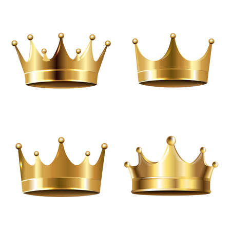 Golden Crown Isolated White Background With Gradient Mesh, Vector Illustration