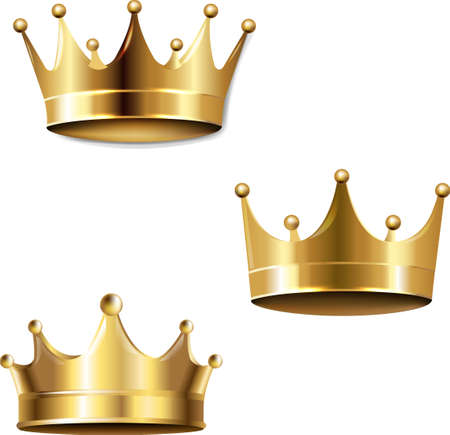 Crown Set Isolated White Background, Vector Illustration 免版税图像