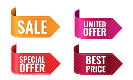 Sale Colorful Ribbon Set Isolated White Background With Gradient Mesh, Vector Illustration