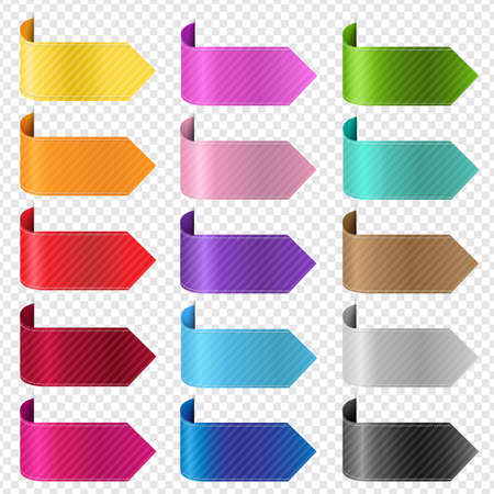 Silk Colorful Ribbon Set Isolated Transparent Background With Gradient Mesh, Vector Illustration