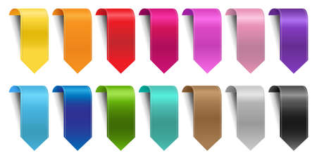 Colorful Ribbon Set Isolated White Background With Gradient Mesh, Vector Illustration
